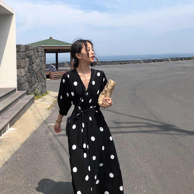 2019 летнее платье женское длинное в горошек повседневное пляжное платье с v-образным вырезом Boho женское платье Черное макси Корейская одежда Vestidos KJ1670
