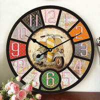 2016 On Sale Large Wall Clocks Retro Wooden Silent Vintage Home Decor Big Wall Watches Relojes