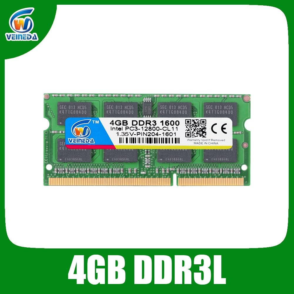 VEINEDA RAM DDR3L 4 GB 8 GB 1333 1600 PC3-12800 1.35 V Pour Intel AMD Compatible 2 gb ddr 3 memoria ram Non-ECC SODIMM