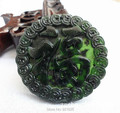 Natural Stone Black Green Jade Carved Handmade Chinese Fu Lucky Amulet Pendant + Rope Necklace Fine Jade Jewelry wholesales
