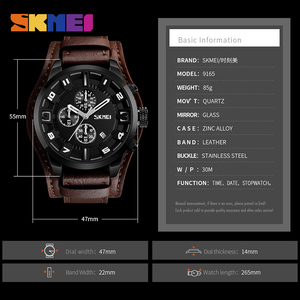 Image 5 - SKMEI Casual Men Quartz Watch Top Brand Luxury Mens Watches Waterproof Stopwatch Calendar Male Clcok relogio masculino 9165