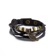 High Grade Black Hemp Rope Wrap Cute Women Bracelet Stainless Steel Round Bead Hollow Leave Bracelet Cow Leather Strap Wristband