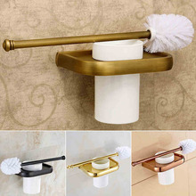 4 style Toilet Brush Holder Solid Brass Construction Base Ceramic Cup Antique Brass golden rose golden