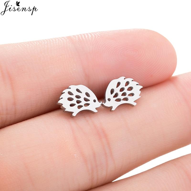 Jisensp Lovely Hedgehog Stud Earrings for Girls Cute Fashion Animal Ear Earrings Jewelry Stainless Steel Black Earing brincos