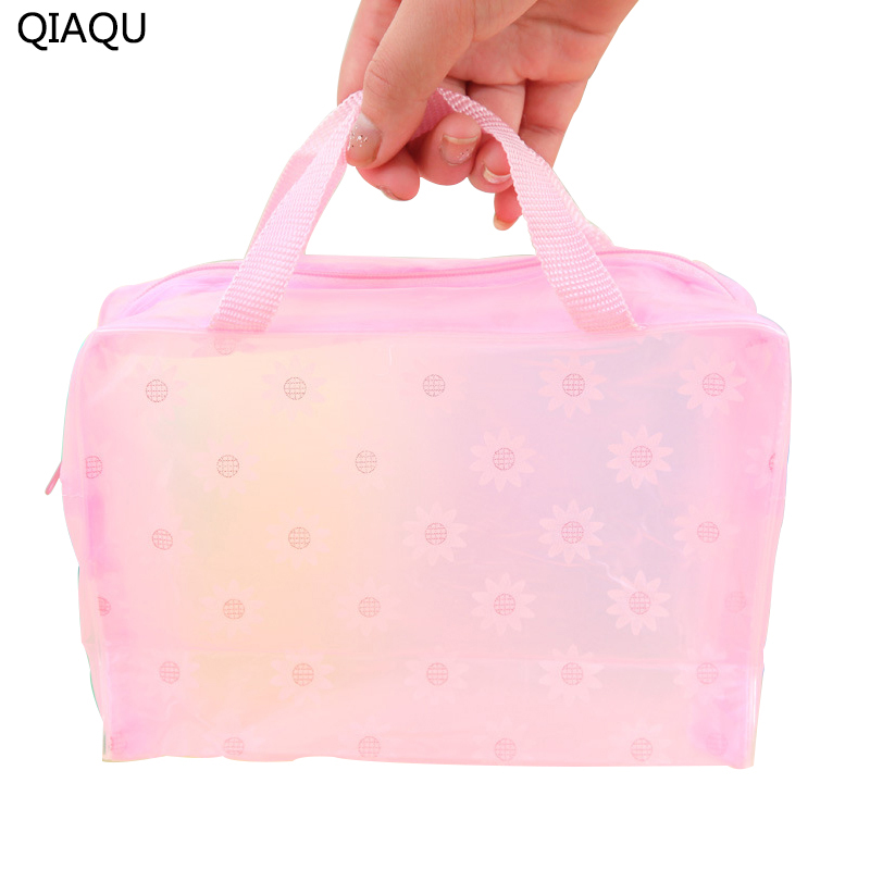 QIAQU Candy Color 5 Colors Optional Translucent Lady Travel Cosmetic Bag PVC Waterproof Bash Brush Makeup Storage Bag Organizer