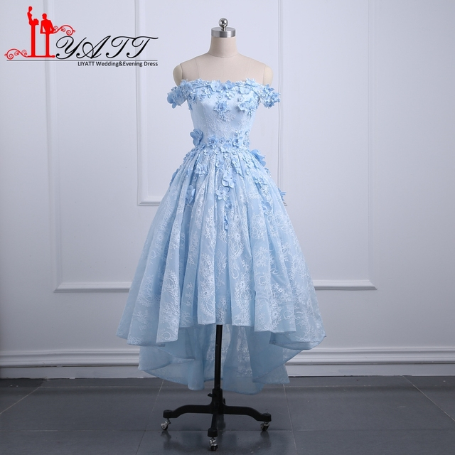 0e18193f67 Blue Vintage Arabic High Low Prom Dresses Off Shoulder 3D Floral Flower  Short Front Long Back Lace Evening Dress Party Custom