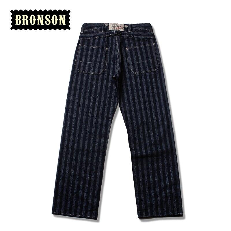 bronson mens stripe raw denim indigo pants male loose straight jean long trousers norse projects regular denim 13 5 oz raw indigo