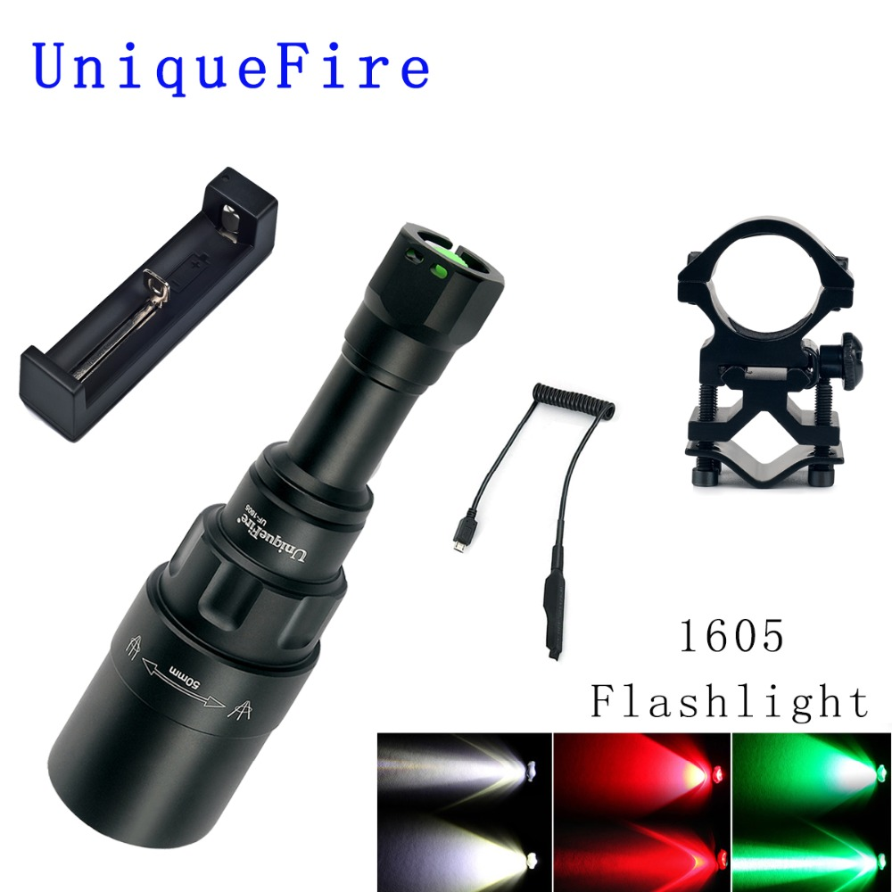 UniqueFire 1605 T50 CREE XRE LED Flashlight(Red/White/Green Light) 3 Modes 240 Lumens Torch Zoomable Lamp Aluminum Whole SET uniquefire 1503 led flashlight cree xre green red white light led torch 50mm convex lens 3 mode for camping