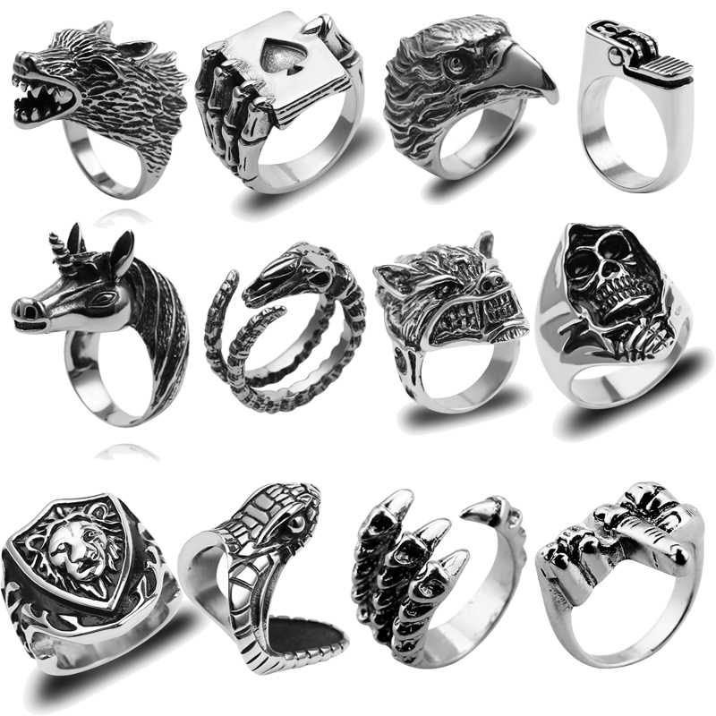 Punk Snake Eagle Skull Lion Wolf head Male Ring Hip-hop Middle Finger to Despise Playing Card Five-pointed Star Men Ring Jewelry