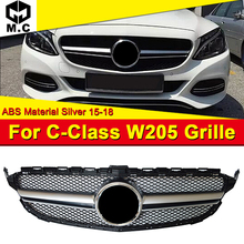W205 Front Grills Grill ABS Silver Fits For MercedesMB C-Class Sports C180 C200 C250 Bumper Mesh Without Sign 15-18