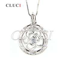 CLUCI Newest 925 sterling silver cage pendant charming Flower locket necklace pendant 3pcs