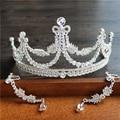 Мода серебряный кристалл диадемы серьги клип свадебные аксессуары для волос люкс партия ювелирных изделий rhinestone короны набор 290