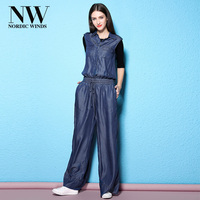 Womens Sleeveless Long Jumpsuit Rompers Elegant Summer Casual Loose Denim Jumpsuits Jeans For Women 2018 Spring New Arrivals