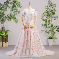 Butterfly Printed Evening Dresses Long 2018 O Neck Prom Dresses Evening Gown for Women Vestidos de Fiesta Formal Party Dress