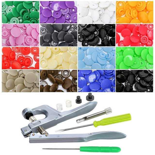 150Pcs/Set Plastic Snaps Hand Held Pliers Tool Kit with Buttons 15 Colors T5 HYD88