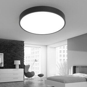 Image 3 - Lustre moderne à Led, noir et blanc, plafonnier rond en acrylique pour le salon, la chambre à coucher, la cuisine, éclairage ultra mince