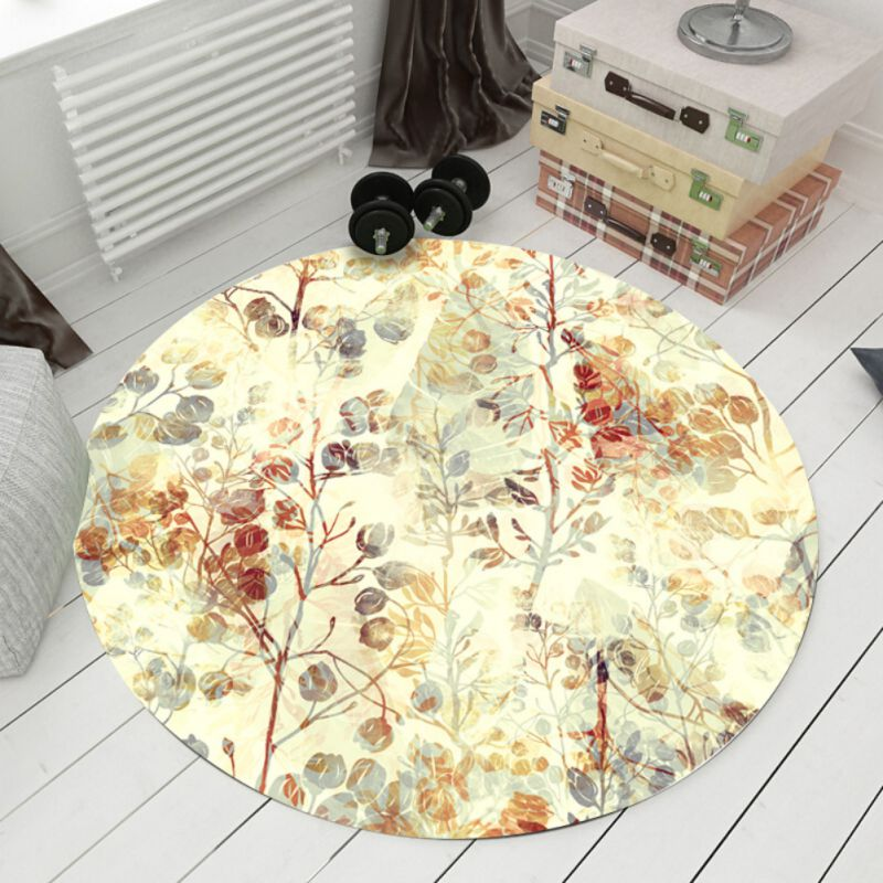 Round Waterproof Carpets Pineapple Printed For Living Room Doormat Non-slip Kitchen Rugs Flamingos Floor Mats Bedroom Carpet