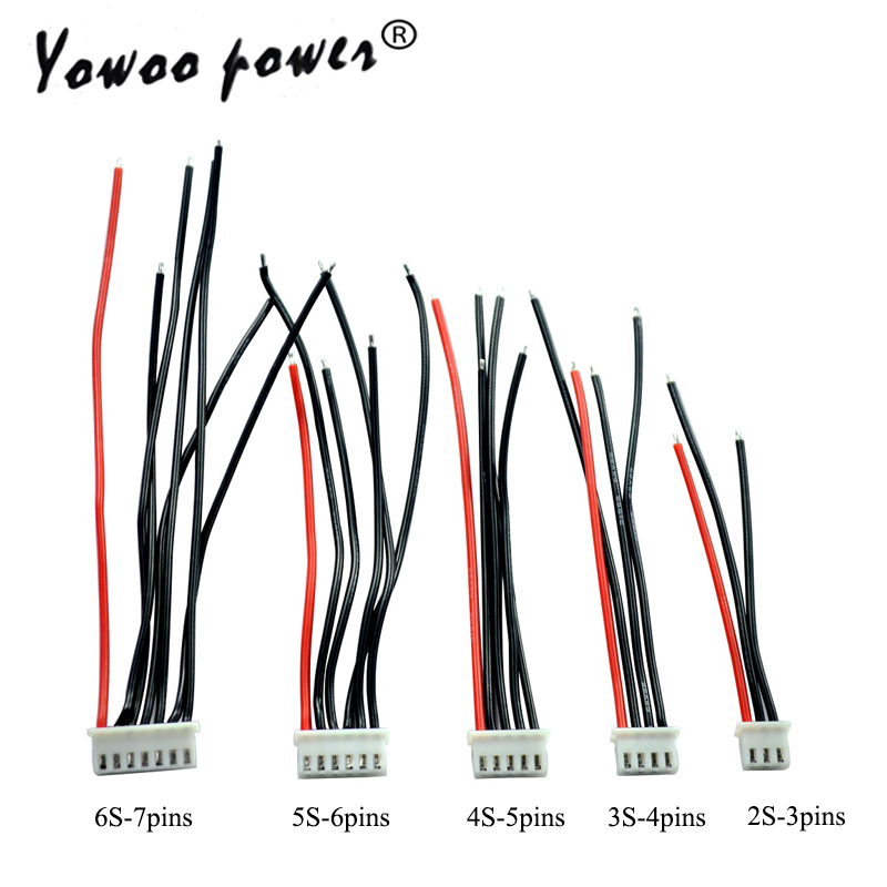 5pcs Lipo <font><b>2S</b></font> 3S 4S 5S 6S Battery Balancing Changer <font><b>Wire</b></font> Line Cable JST-XH JST XH Connector Adapter Plug 22AWG 100mm 10cm image