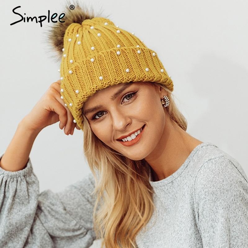 Simplee elegante de gorra perlas pom invierno sombrero para mujer sombrero  de punto gorros grueso mujer 6d4f249ad59