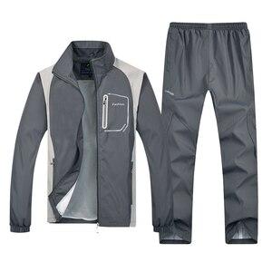 Image 2 - YIHUAHOO chándal hombres 4XL 5XL de los hombres ropa deportiva de primavera y otoño chándal conjunto de dos piezas de ropa de chándal casual de los hombres YB T313