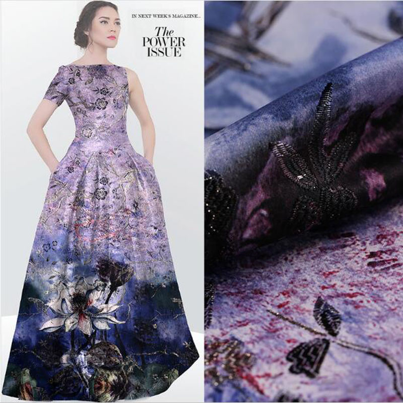 143*1Meter Good Flower Brocade Fabric French Design Gold Thread Silk Jacquard Brocade Fabric Sewing Material DIY Suit Dress