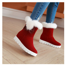 Women snows boots Winter Warm Boots platform outsole Mid-Calf Flat Heel Bow-Accent Furry shoes faux furs warm winter