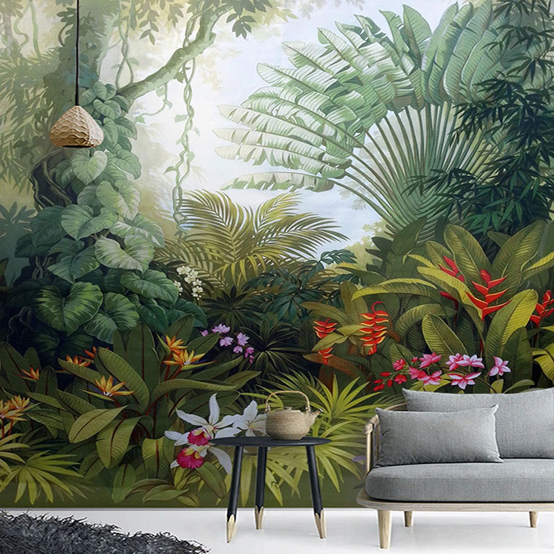 Custom Mural Wallpapers European Style Retro Tropical Rain Forest Plant Scenery Photo Wall Painting Murals Living Room Wallpaper