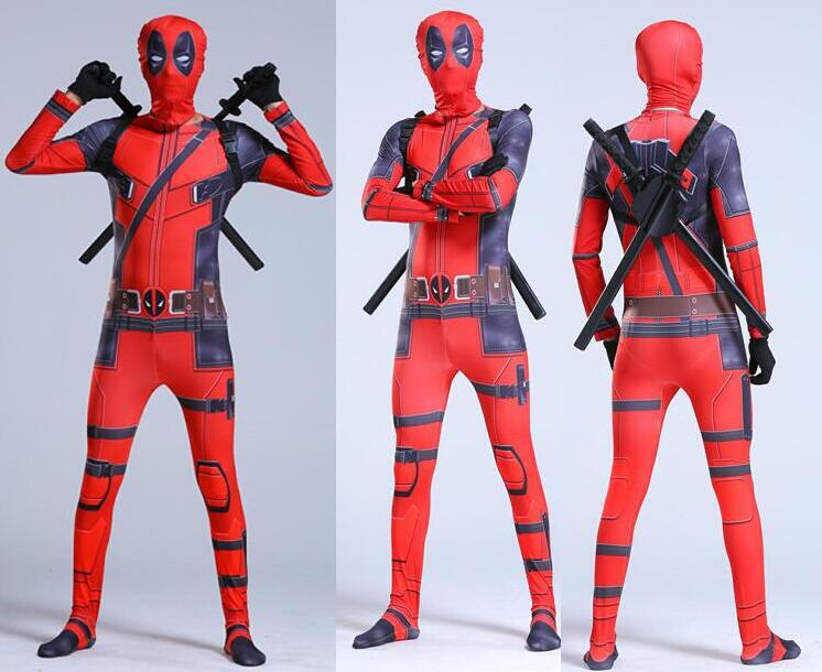 Image 3 - 2019 deadpool costume for kids child boys Superhero Spandex Suit Party Halloween Cosplay Costume With Swords Gloves