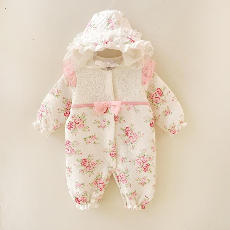 Floral Winter Thicken Newborn Baby Clothes Warm Kids Girl Cl