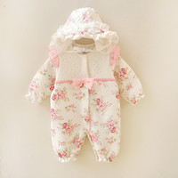 Winter NewbornThicken Floral Princess Jumpsuit Clothing Sets Girl Rompers Hats Baby Girl Clothes