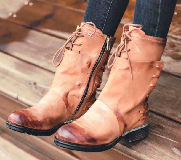 57b796b1b83a placeholder 2017 vintage leather multi straps boots desinger mid-calf boots  women s cool combat boots top