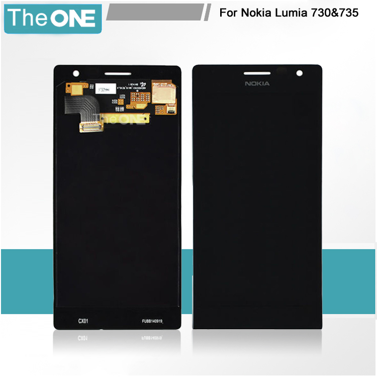 Free DHL 100% New Full LCD Screen For Nokia lumia 730 735 lcd display With Digitizer Touch Screen Assembly Black 5 pcs free dhl ems shipping replacement lcd display with touch screen digitizer frame for nokia lumia 730 735 lcd assembly tools