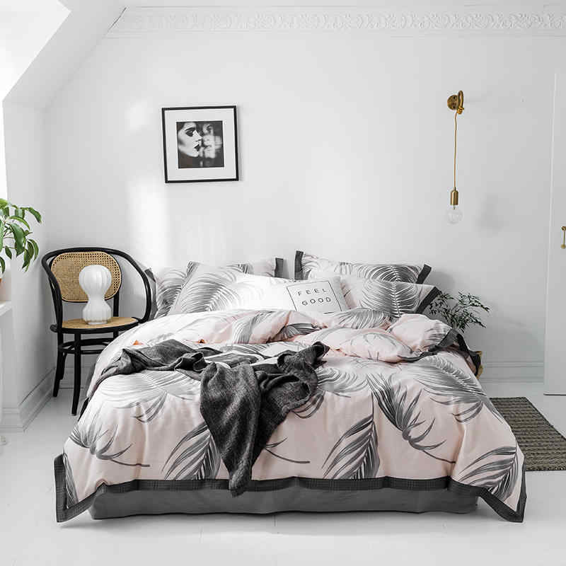 Cotton queen size twin king duvet cover bed sheet fitted sheet set white gray Bedding Set bed sheet ropa de cama parure de lit
