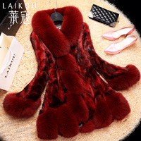 冬の新しい ミンク の毛皮の コート 、高貴な キツネ の毛皮の襟リアル ファー コート ミンク コート毛皮ジャケット コート ミンク オーバー FH631