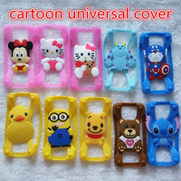 100 Pcs Universal 3D Cartoon Stitch Minnie Kitty Silicone Frame Bumper Phone Case For Iphone 4