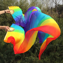 Free-Shipping Vertical Rainbow color 100% real Silk Fan Veils nice multi-color mixed long Fan Veil for Belly Dance 7 colors dyed