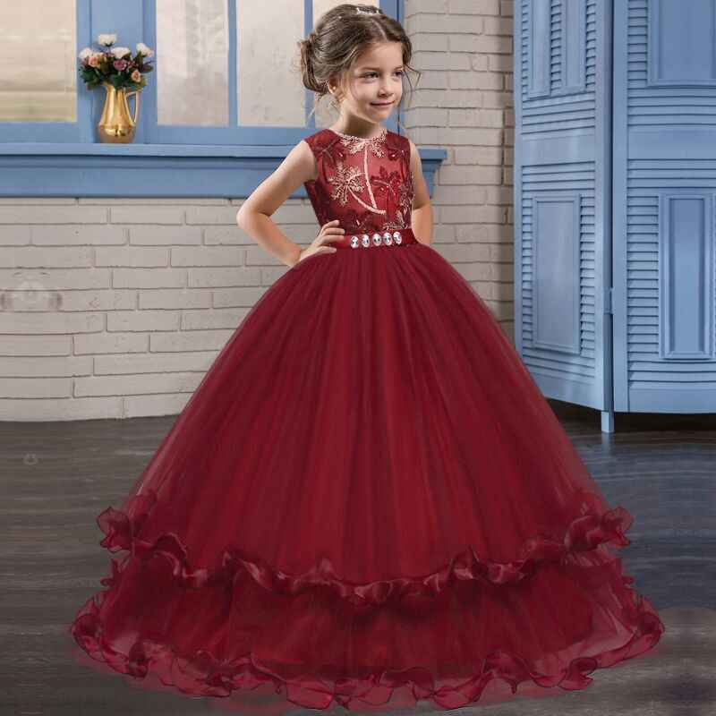 b825def3d Kid Wedding Dress Girl Party Dresses Elegant Ball Gowns 4 To 14 Years Navy  Burgundy Prom