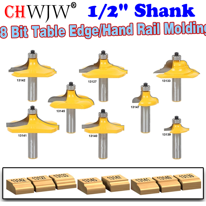 8 PC 1 2 Shank Table Edge Hand Rail Molding Router Bit Set CHWJW 13829