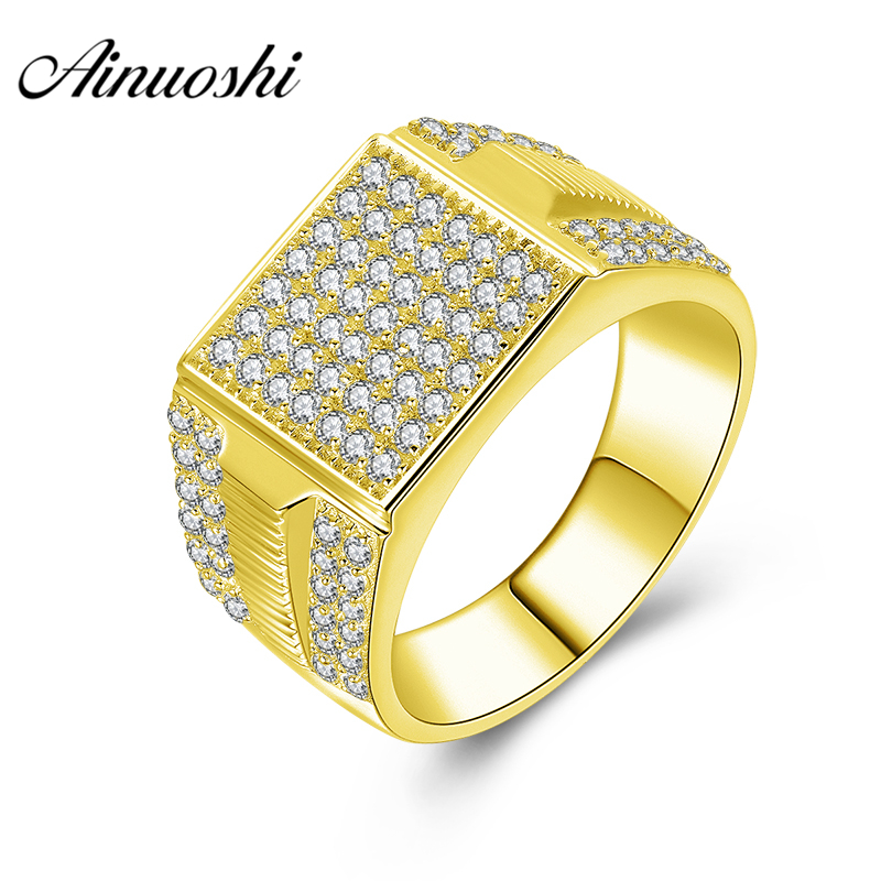 AINUOSHI 14K Solid Yellow Gold Men Ring Rows Drill Square Cluster Ring Wedding Engagement Gold Jewelry Wide Wedding Male BandAINUOSHI 14K Solid Yellow Gold Men Ring Rows Drill Square Cluster Ring Wedding Engagement Gold Jewelry Wide Wedding Male Band