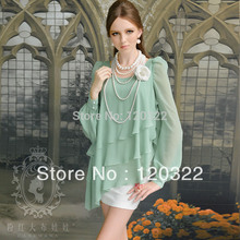 DABUWAWA Brand Women Dress 2016 Fashion New Cute Spring and Autumn Casual Long-Sleeve Green Chiffon White Ruffles Dress Vestidos