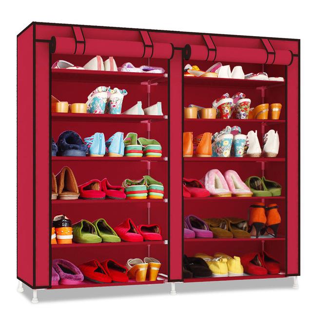 ENVÍO gratis Simple tela Oxford bastidores de zapatos multi-capa de hierro de doble Polvo paño Salón