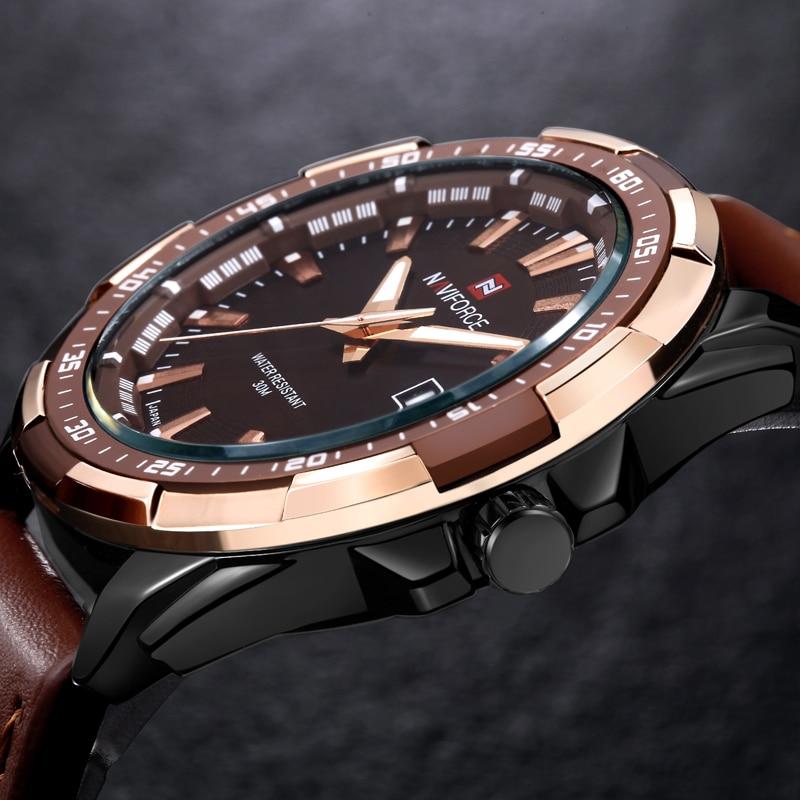 2016 naviforce календарная бренд мужской моды случайные спортивные часы мужчины водонепроницаемый кожа кварцевые часы человек военный часы relogio мужчина для