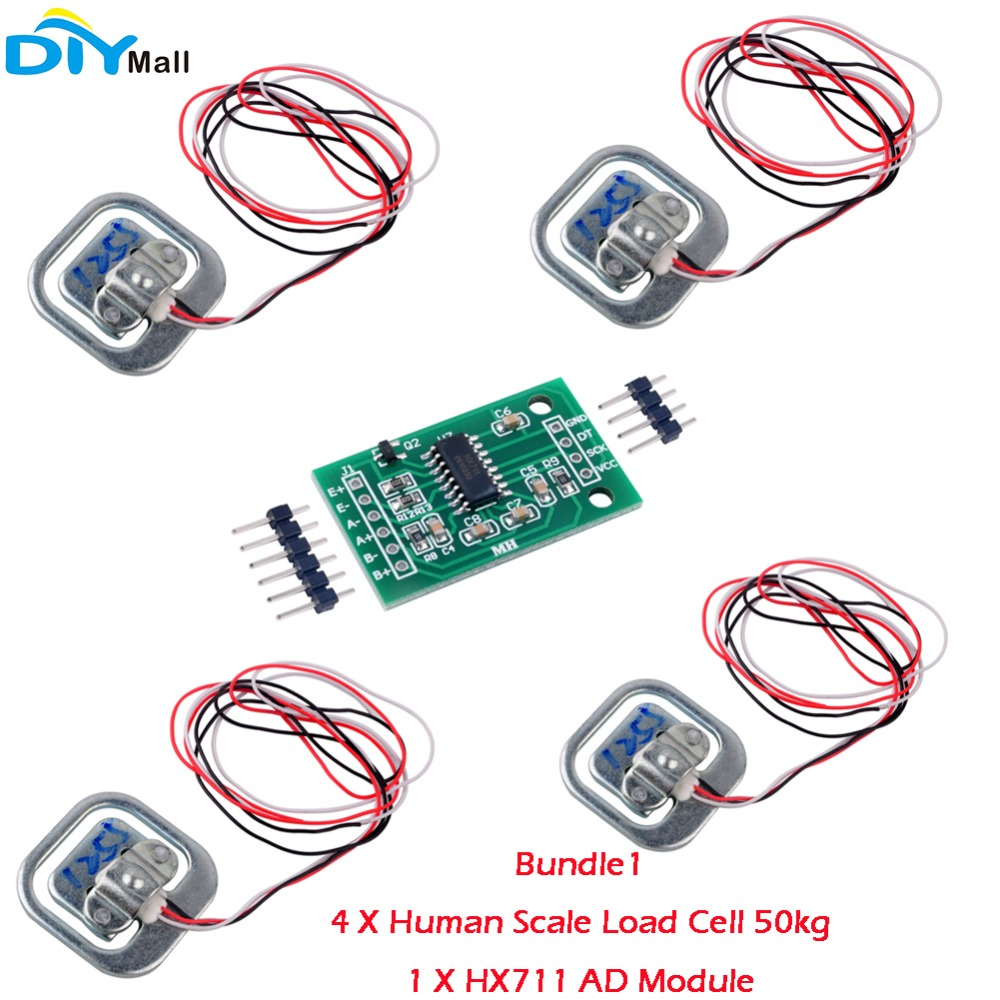 RCmall Human Scale Load Cell Weight Weighting Sensor 50KG Half-bridgeAmplifier HX711 AD Module Strain Gauge Bathroom Scale