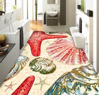 Customize 3D floor print beach shell starfish pvc waterproof self-adhesive 3d photo wallpaper for living room bedroom