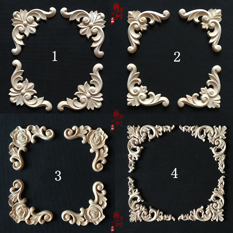 Fashion wood corner flower fashion wood applique corner flower carved flower decoration wardrobe cabinet door flower applique grab bag