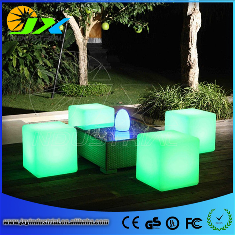 ФОТО Colorful RGB Light LED Cube Chair 40cm to outdoor or indoor as garden seat