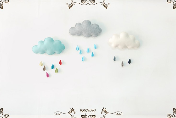 big size/hanging grey cloud/wall art/home birthday party Christmas ...