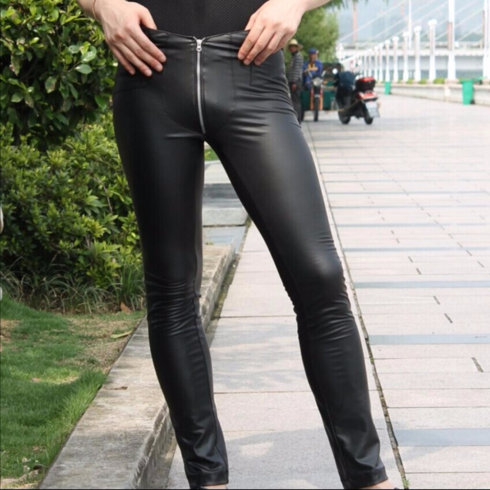 New Fashion men's sexy skinny casual pants low-waist Black matte faux leather zipper crotch feet jeans hairstylist trousers