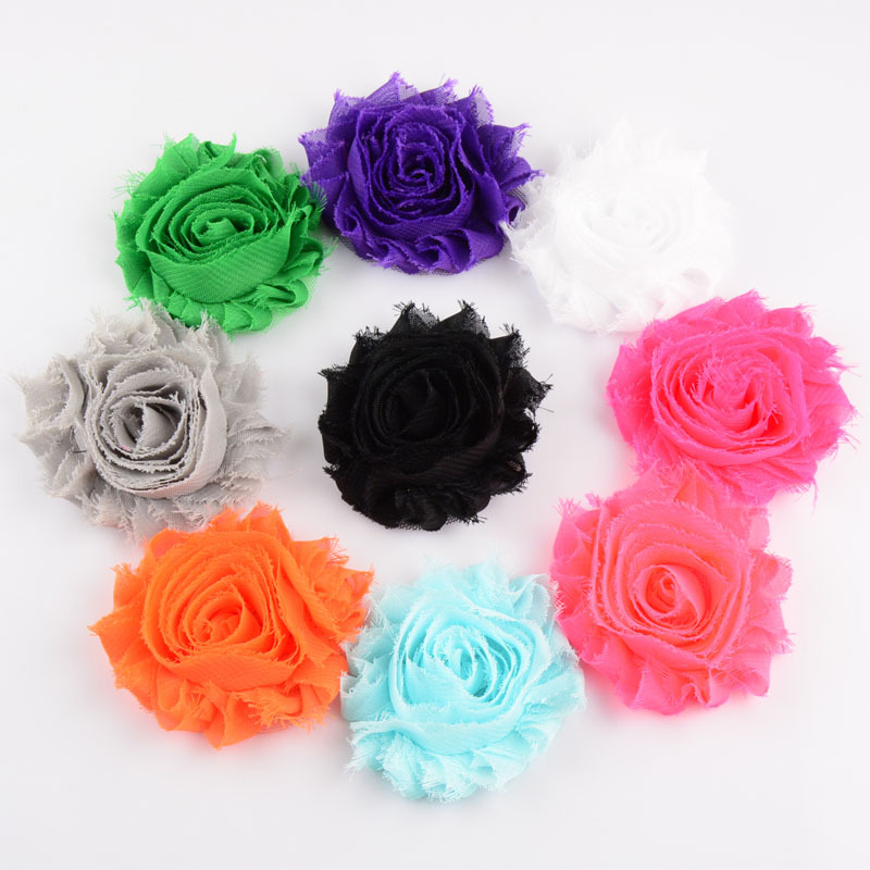 120pcs/lot 15colors Fashion Chic Shabby Chiffon Flowers For Baby Hair Accessories 3D Frayed Fabric Headbands