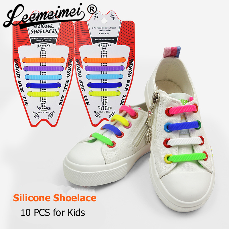 Kids Adult Easy No Tie Shoelaces Elastic  Stretch Silicone Flat Shoe Lace Set US
